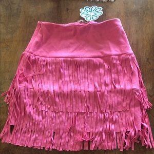 Pink fringe skirt